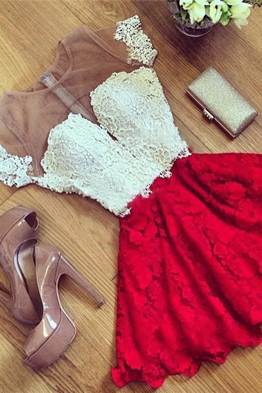 Short Sleeve Illusion Cute Lace Sexy Short Homecoming Dresses BA7001