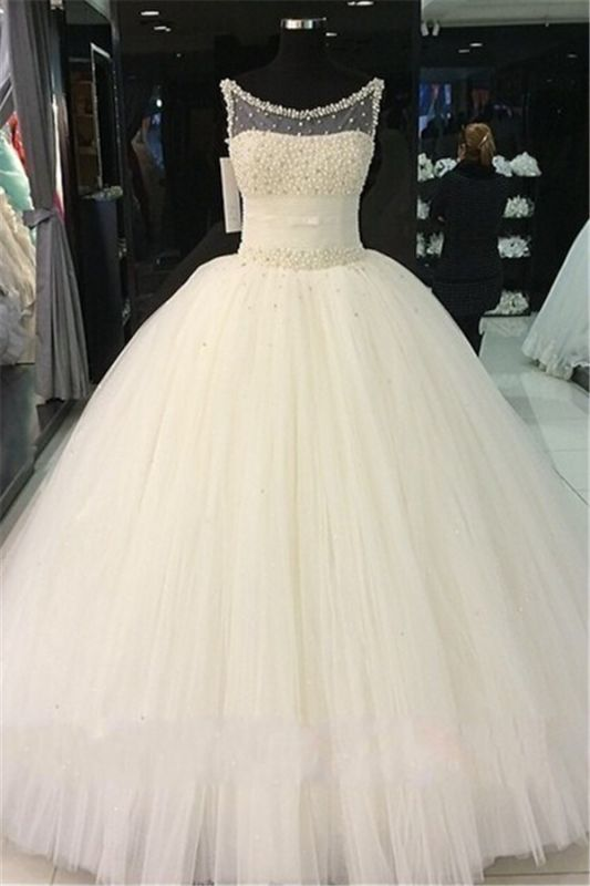 Pearls Beadings Princess Tulle Sleeveless Gorgeous Wedding Dress Cheap