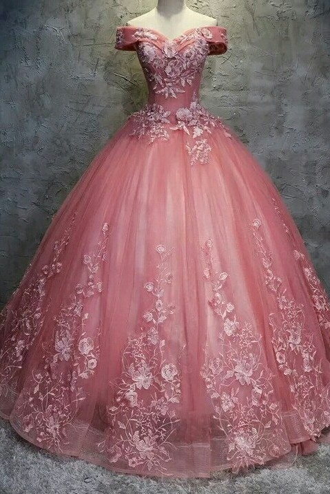 Elegant Off-The-Shoulder Ball gown Appliques Sleveless Floor-Length Lace-up Prom Dresses
