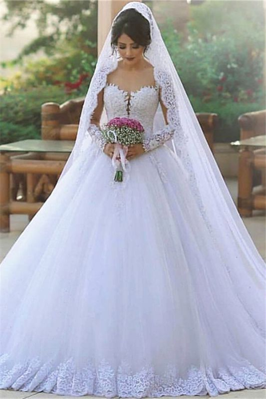 Long Sleeve Bridal Dress Cheap Online | Tulle Lace Appliques Popular Ball Gown Wedding Dresses