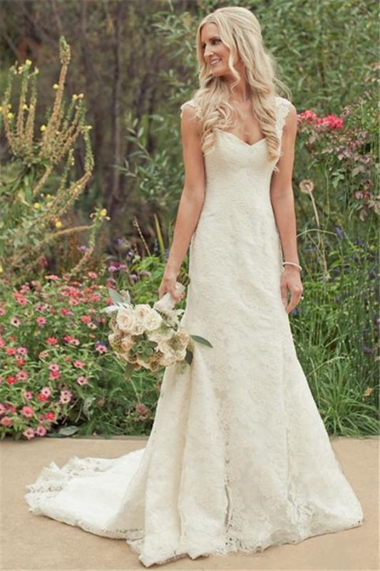 Mermaid Vintage Lace Appliques Straps Wedding Dresses Cheap with Court Train