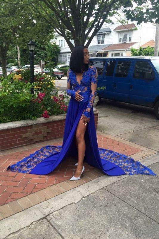 Royal-Blue Long-Sleeves Lace Side-Slit Sexy Deep-V-Neck Prom Dresses