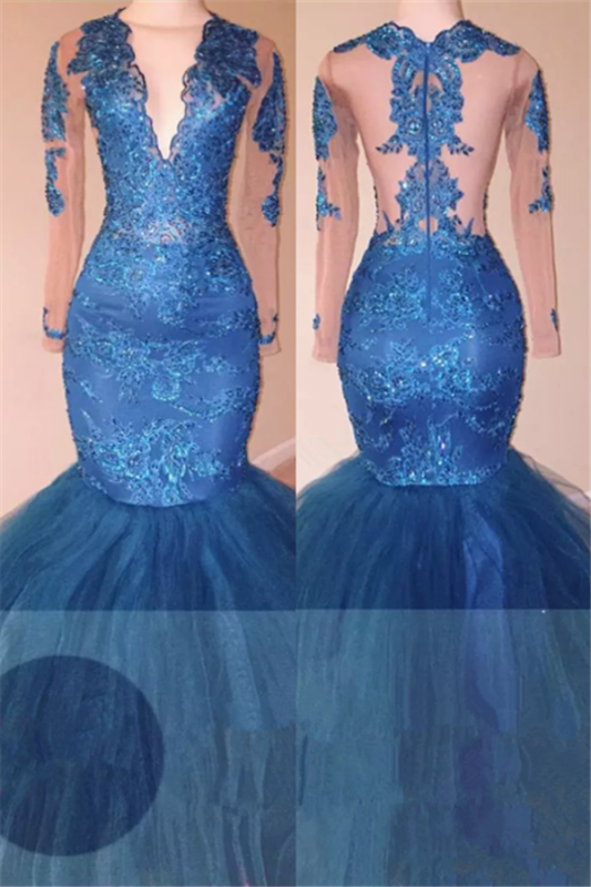 Ocean Blue Tulle Mermaid Long Sleeve Long Prom Dresses Cheap   V-neck Lace Appliques Plus Size Formal Evening Gowns BA6083
