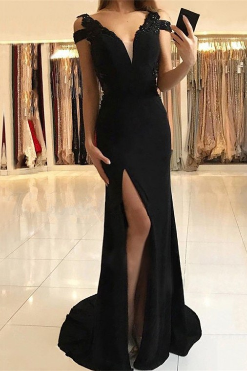 Sexy Black Evening Dress |Prom Dress With Slit