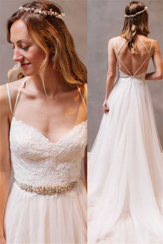 Elegant Lace Crystals Spaghetti Straps Wedding Dresses | See Through Lace Up Sleeveless Cheap Bridal Gowns