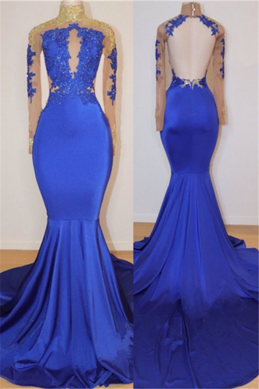 Royal Blue Long Prom Dresses Cheap for Juniors Online | Open Back Mermaid Appliques Evening Gowns BC0717