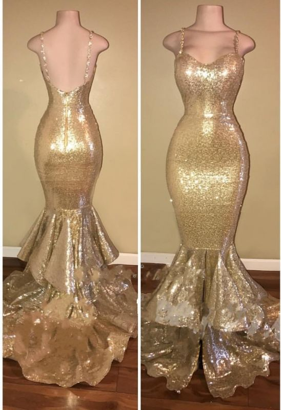 Gold Spaghetti Straps Layers-Train Sequins Mermaid Shiny Long Prom Dresses Cheap