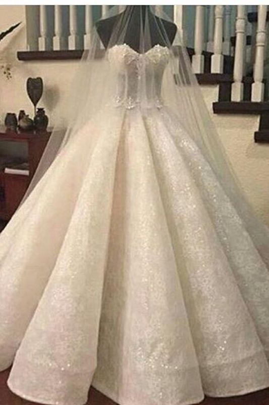 Gorgeous Ruffles Sweetheart Bridal Gowns Cheap | Sexy Ball Gown Wedding Dresses Online