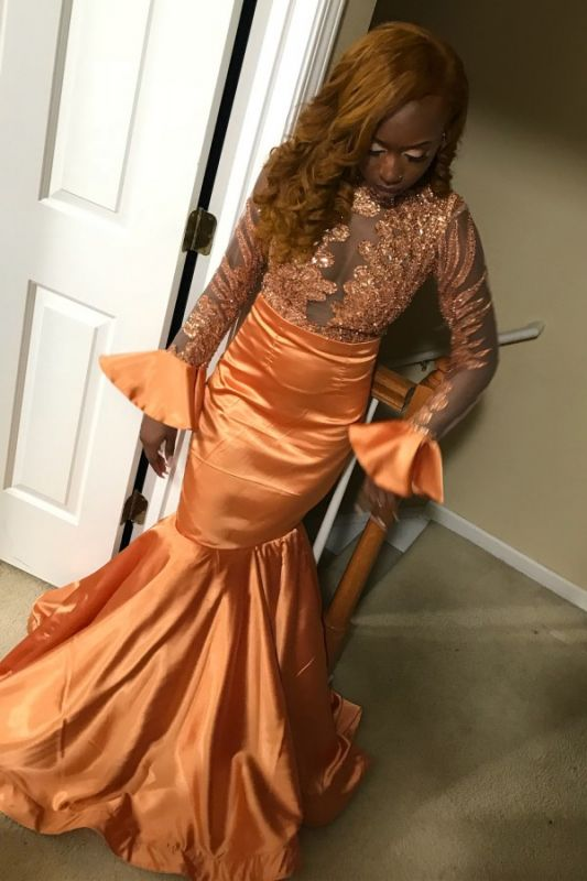 Glamorous Round Neck Lace Appliques Sequins Long Sleeves Sexy Mermaid Floor-Length Prom Dresses