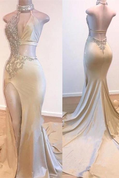 Crystal Halter Side Slit Long Prom Dresses Cheap | Custom Made A-line Open Back Sleeveless Evening Dresses