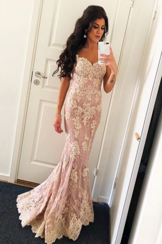 Elegant Pink Spaghetti Straps Lace Prom Dress | Open Back Mermaid Sexy Evening Dresses