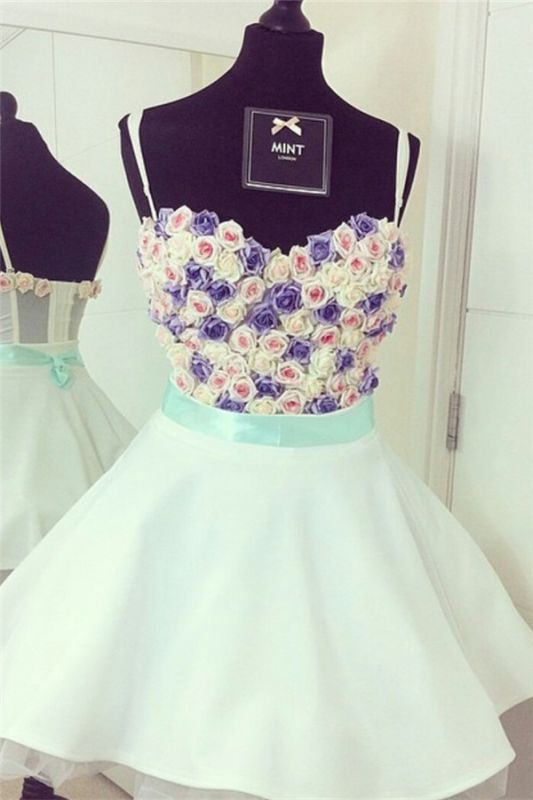 Spaghetti Straps Colorful Flowers Lovely Mini Sweetheart Sexy Short Homecoming Dresses