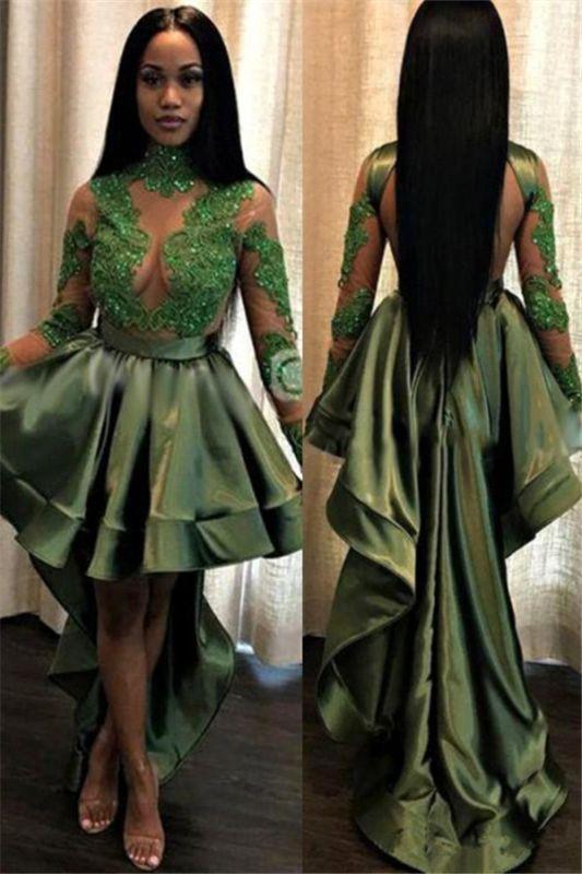 Long See Through Lace Long Sleeve Prom Dress   Cheap Hi-lo Dark Green Formal Dresses
