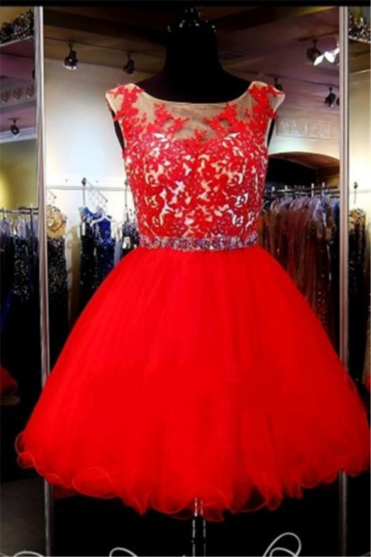 Sleeveless Tulle Mini Appliques Red Custom Made A-line Sexy Short Homecoming Dresses