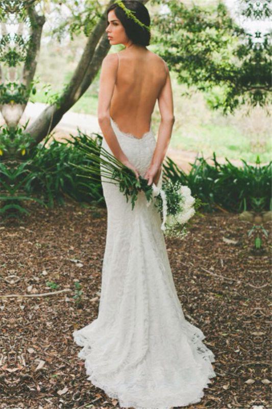 Mermaid Ruffles Lace Spaghetti Straps Bridal Gowns   Sweep Train Sleeveless Wedding Dresses Cheap