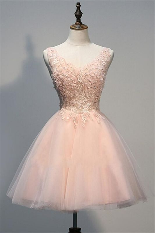 Crystal V-Neck Sleeveless Tulle Appliques Custom Made A-line Sexy Short Homecoming Dresses