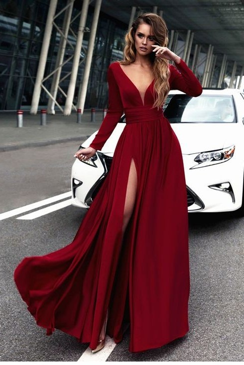 Sexy Red Long Sleeve V-neck Prom Dress | Front Split Evening Gown