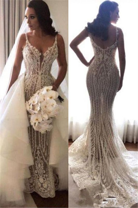 Elegant Spaghetti Straps Sleeveless  Mermaid Lace Appliques Wedding Dress