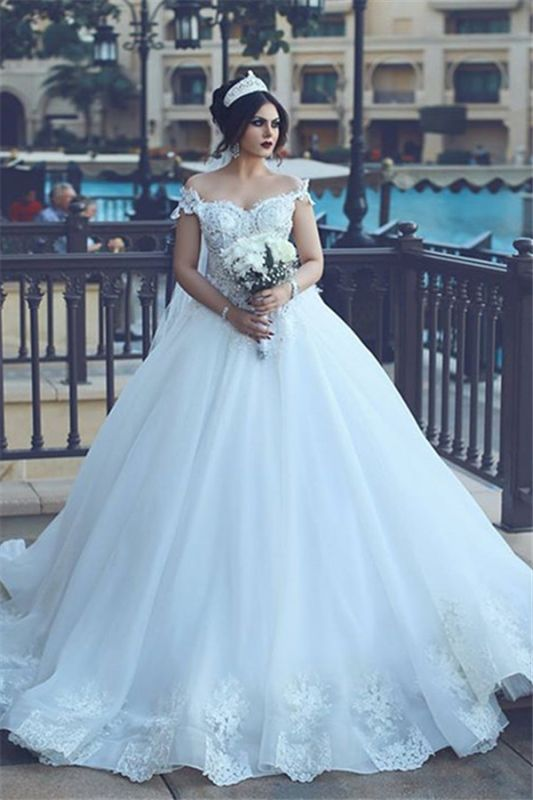 Crystal Off The Shoulder Elegant Appliques Tulle Ball Wedding Dresses Cheap Online
