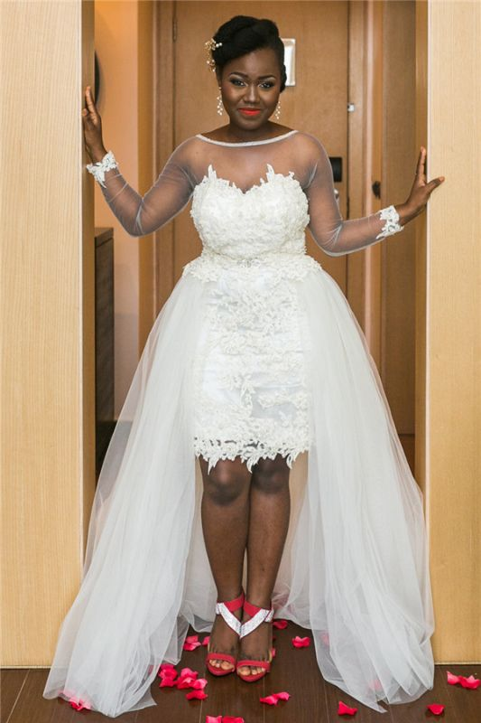 Lace Appliques Online Hi-Lo New Arrival A-line Tulle Long Sleeve Sexy Wedding Dresses