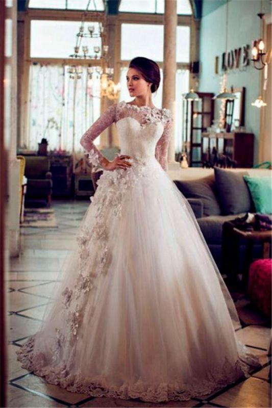 Une ligne manches longues appliques florales robes de mariée en tulle