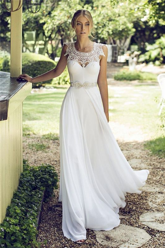 Beach Chiffon Sleeveless Summer Long Glamorous Wedding Dress Cheap