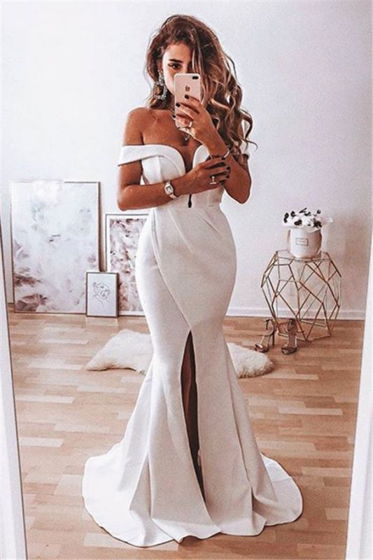Elegant Off The Shoulder Sexy Split Front  Mermaid Lace Wedding Dresses Cheap