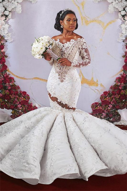Luxurious Off-the-shoulder Long Sleeves Mermaid Ruffles Appliqued Beading Wedding Dresses