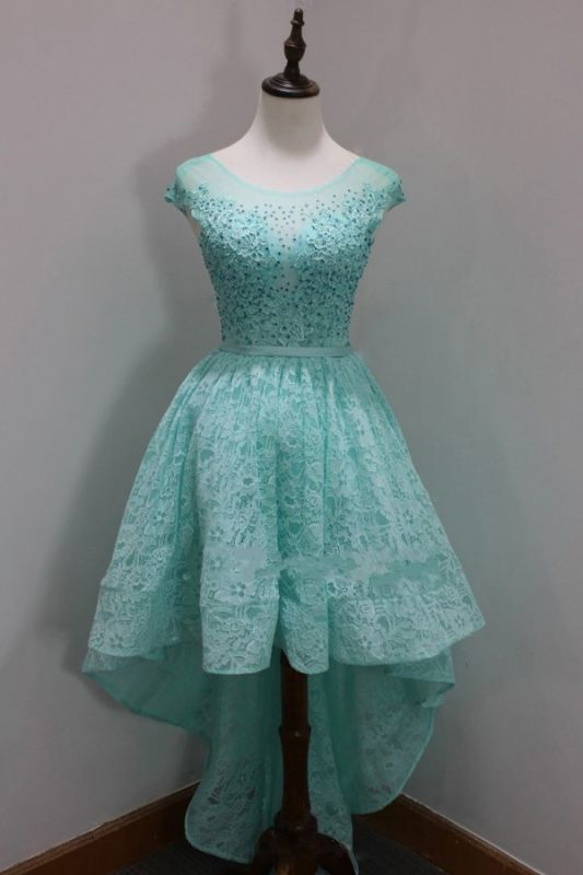 Sleeves Custom Made A-line Dresses New Arrival Sequins Scoop High-Low Cap Lace Homecoming Long Prom Dresses Cheap
