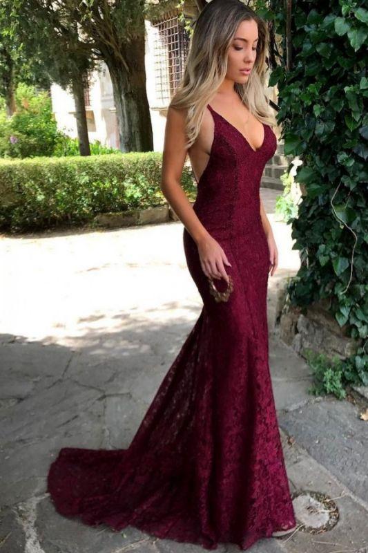 Simple Burgundy Lace Straps Sleeveless Mermaid Backless Prom Dress BA7196