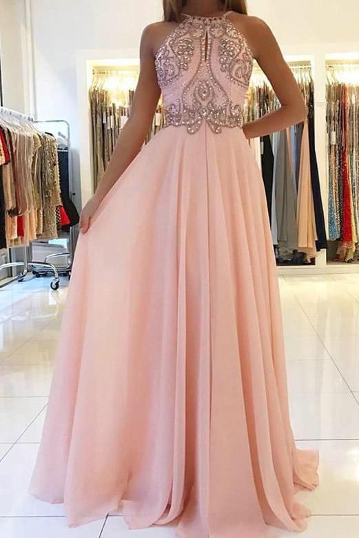 Fashion  Spaghetti Straps Beading Pink Floor-Length Prom Dress