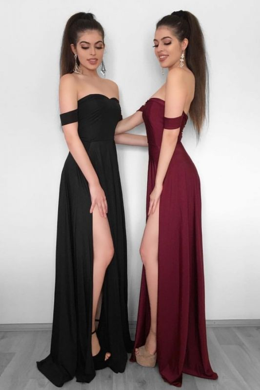 Sexy High Slit Evening Gowns   Off-the-Shoulder Formal Dresses