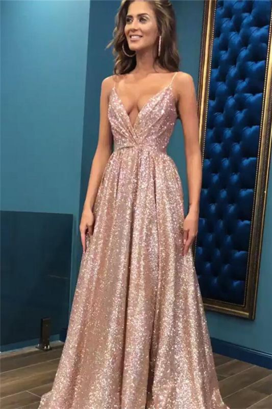 Sexy Sequins Simple Spaghetti Straps Evening Dresses | 2019 Cheap Open Back Sleeveless Prom Dress