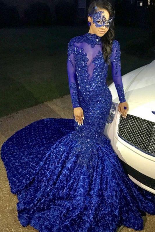 Sexy Flowers Royal Blue Prom Dress   Long Sleeve Prom Dress