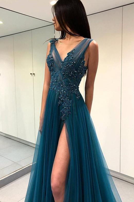 Fashion V-Neck Split Front  Appliques Blue Tulle Prom Dress