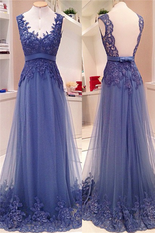 Lace Appliques Open Back Long Prom Dresses Cheap Custom Made A-line V neck Sash Bow Formal Evening Gowns