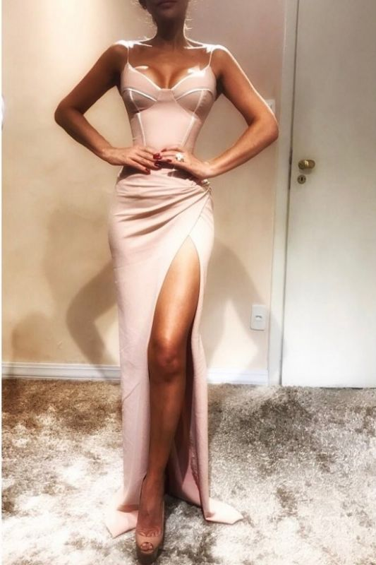 Sexy Spaghetti-Strap Sexy Mermaid Prom Dresses   Sleeveless Side Slit Evening Gowns