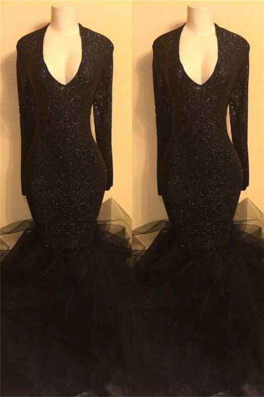 Black Long Prom Dresses Cheap with Sleeves | Mermaid Formal Dresses Plus Size BA8155