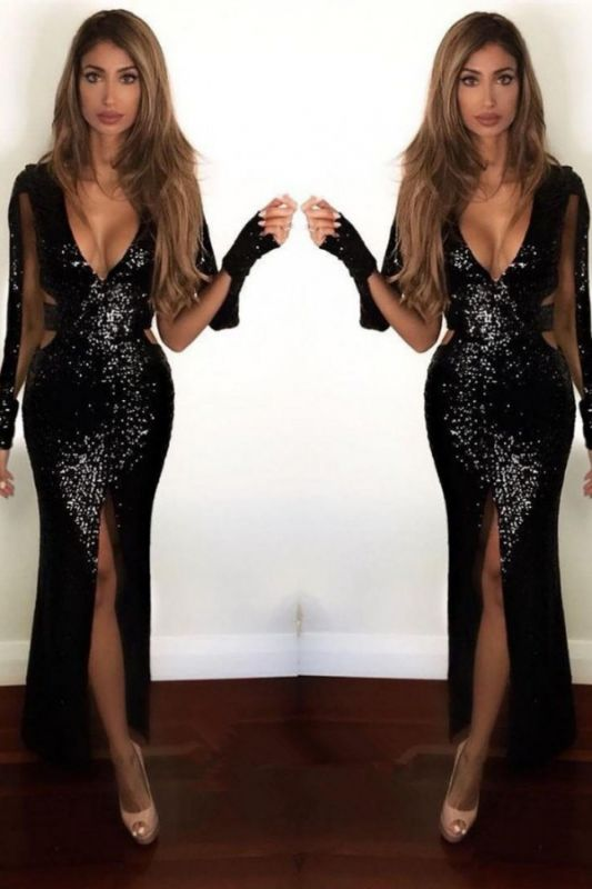 Sexy Front Split Black Sequined Prom Dress | Long Sleeve Prom Dress