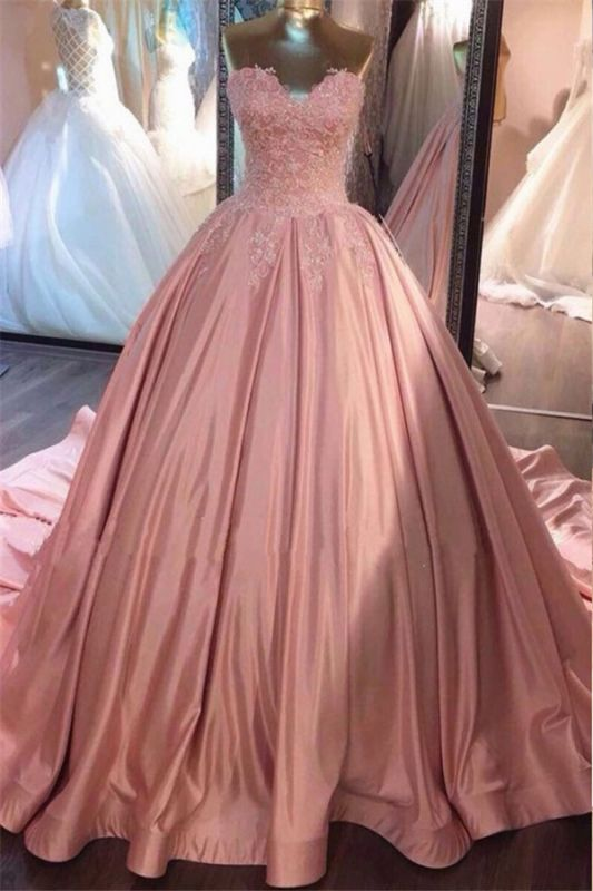 Strapless Lace Appliques Ball Gown Evening Dresses | Pink Quinceanera Dresses with Train BA8271