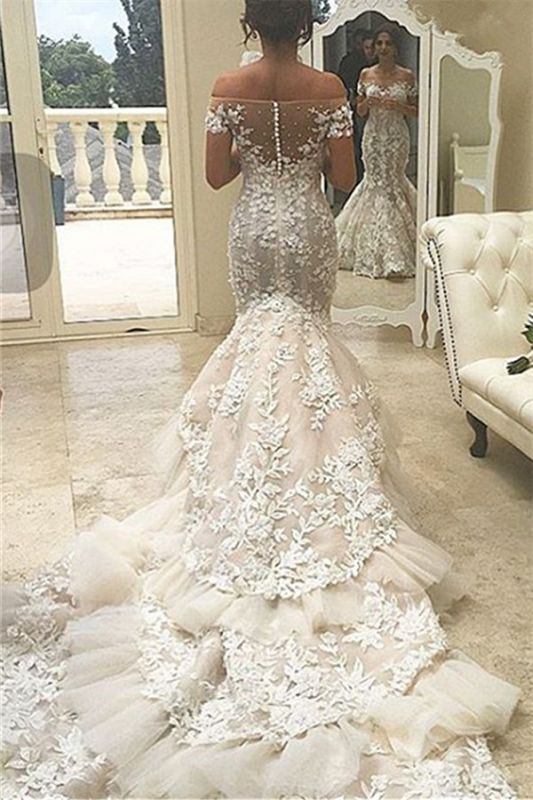 Buttons Tiered Appliques Tulle Off The Shoulder Mermaid Elegant Wedding Dresses Cheap Online Newarrivaldress Com,Summer Casual Wedding Dresses