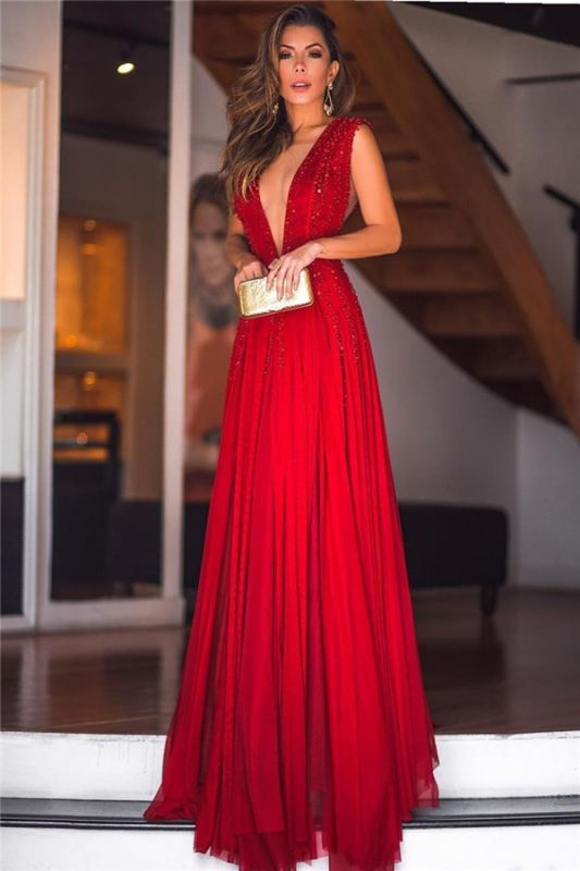 Sexy  Deep V-Neck Beading Evening Dresses | Sleeveless Chiffon Long Prom Dresses