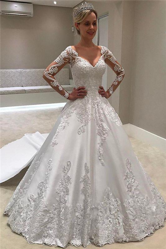Cheap Long Sleeve Satin V-Neck Appliques A-Line Wedding Dresses Sexy