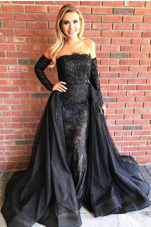 Over-Skirt Black Strapless Gorgeous Sheath Embroideries Prom Dresses