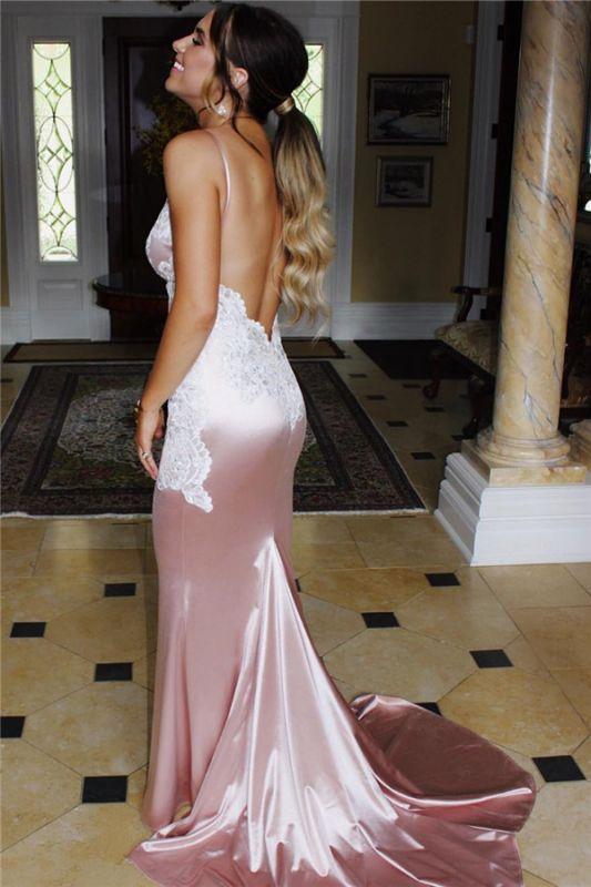Elegant Spaghetti Straps Backless Mermaid Appliques Prom Dress