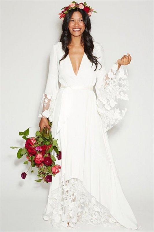 Floor Length Lace Sexy Bridal Gowns Cheap | Ribbon V-neck Chiffon Long Sleeve Wedding Dresses