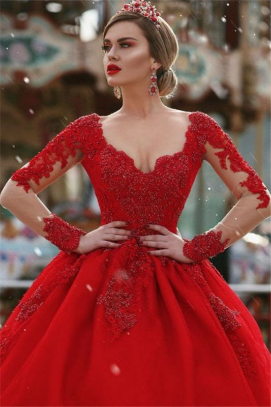 Red New Arrival Lace Appliques Wedding Dresses with Sleeves | Luxury Illusion Sexy  Bridal Gowns Cheap Online