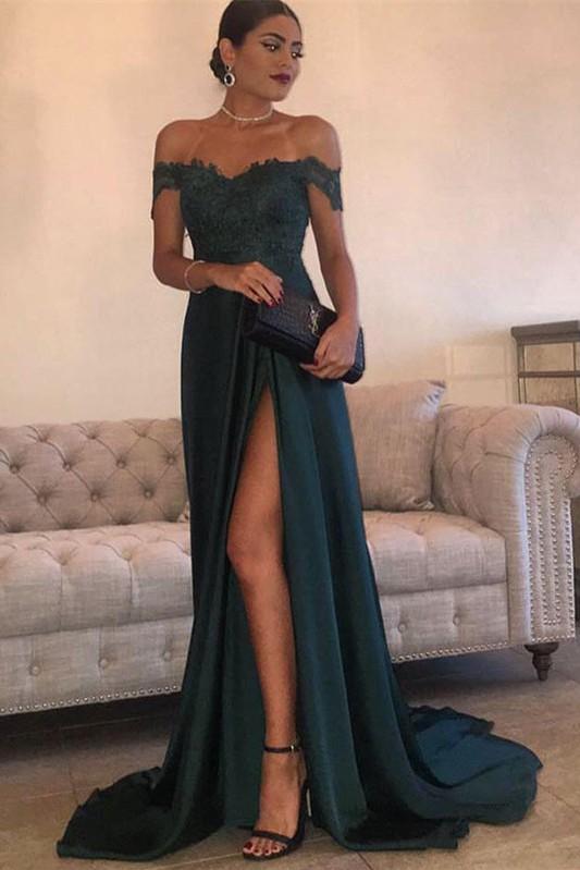 Long Lace Off-the-Shoulder Floor-Length Split Elegant Evening Dress