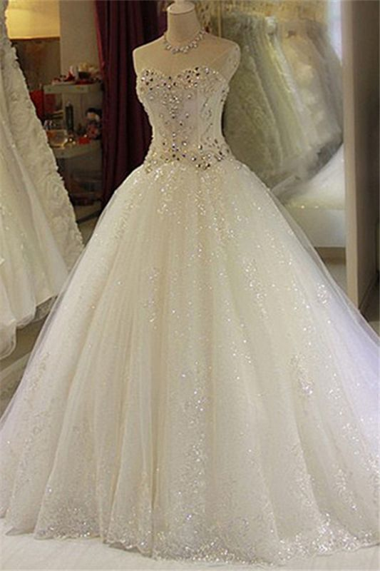 Sparkling Beaded Wedding Dresses | Sweetheart Sleeveless Lace Lace Appliques Bridal Dresses