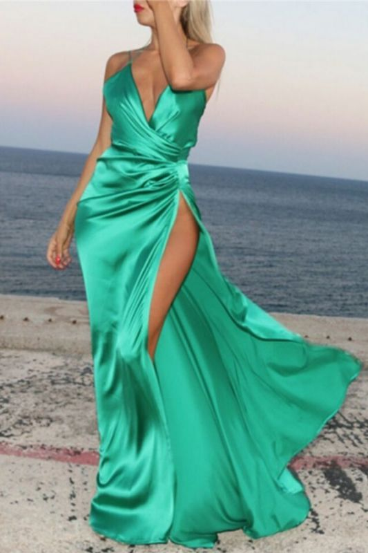 Spaghetti Strap V-Neck Cheap Party Dresses | Latest Side Split Formal Gown AE0105
